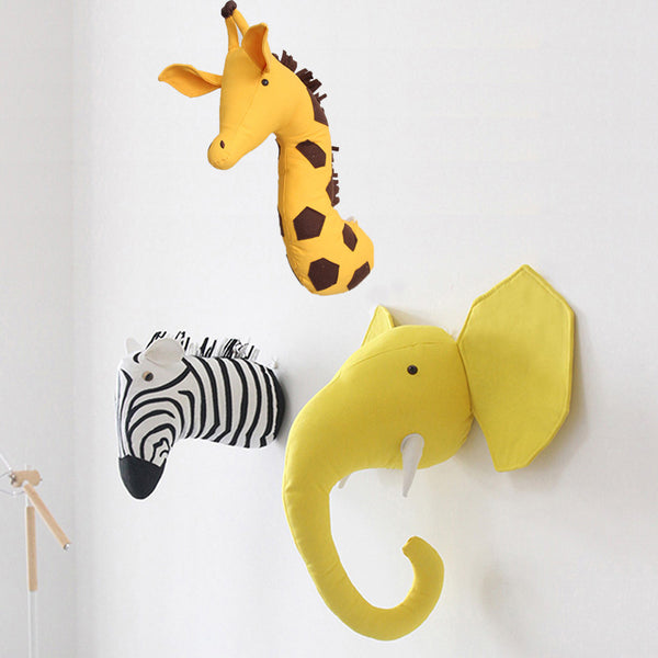 Zebra/Elephant/Giraffe 3D Animal Head Wall Mount Children Stuffed Toys Kids Room Wall Art Hanging Home Decoration Birthday Gifts - The most popular products on Tiktok | GOWOW