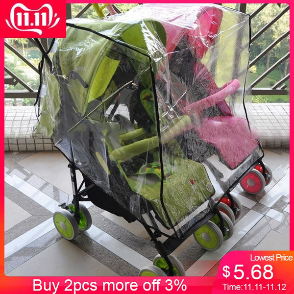 double stroller accessorie Side By Side Stroller pushchair Weather Shield Baby Rain Cover Waterproof baby carriage Cart Dust #30 - The most popular products on Tiktok | GOWOW