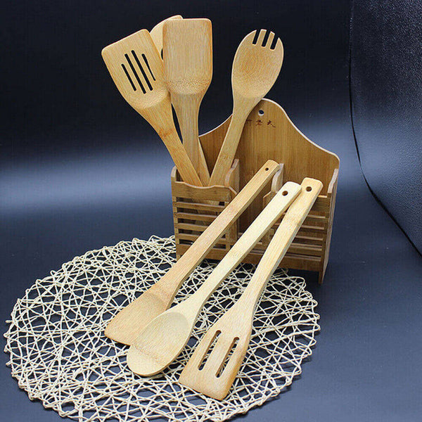5 PCS 1 Set Bamboo Utensil Kitchen Wooden Cooking Tools Spoon Spatula Mixing Healthy High Quality Easy Kitchen Cooking Tools L*5 - The most popular products on Tiktok | GOWOW