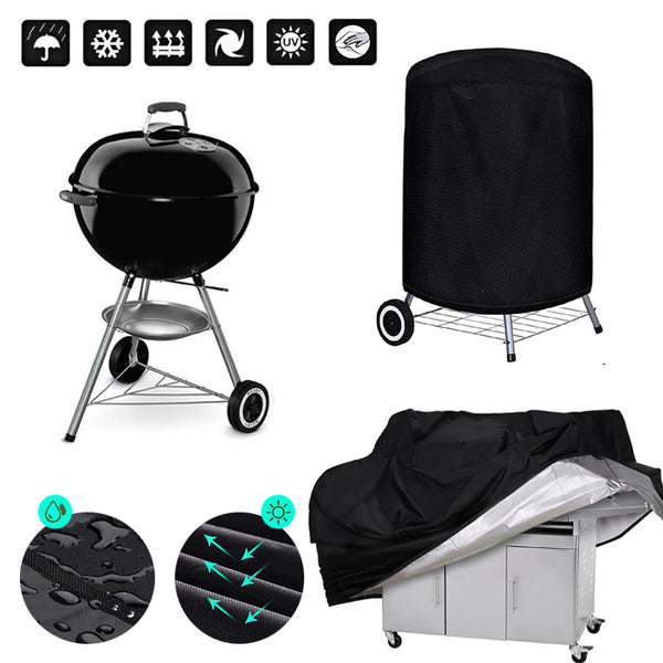 BBQ Cover Outdoor Dust Waterproof Weber Heavy Duty Grill Cover Rain Protective outdoor Barbecue cover round bbq grill black - The most popular products on Tiktok | GOWOW