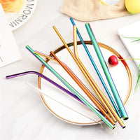 215mm Reusable Straw Metal Sturdy Bent Straight Drinking Straw with Cleaning Brush 304 Stainless Steel Straw Bar Accessories - The most popular products on Tiktok | GOWOW
