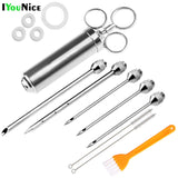 IYouNice 5 Needles 2 Oz Meat Injector Syringe Poultry Marinade Flavour Injector Meat Seasoning Injectors BBQ Kit Kitchen Tools - The most popular products on Tiktok | GOWOW