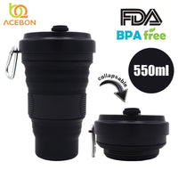 550ml Folding Silicone Cup Mugs Portable Silicone Telescopic Drinking Collapsible Silica Coffee Cup With Lids Travel All Black - The most popular products on Tiktok | GOWOW