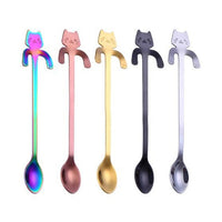 4pcs Stainless Steel Mini Cat Kitten Spoons for Coffee Tea Dessert Drink Mixing Milkshake Spoon Tableware Set Kitchen Supplies - The most popular products on Tiktok | GOWOW