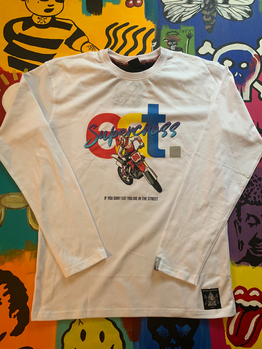 White EAT Supercross Tee (Long sleeve)