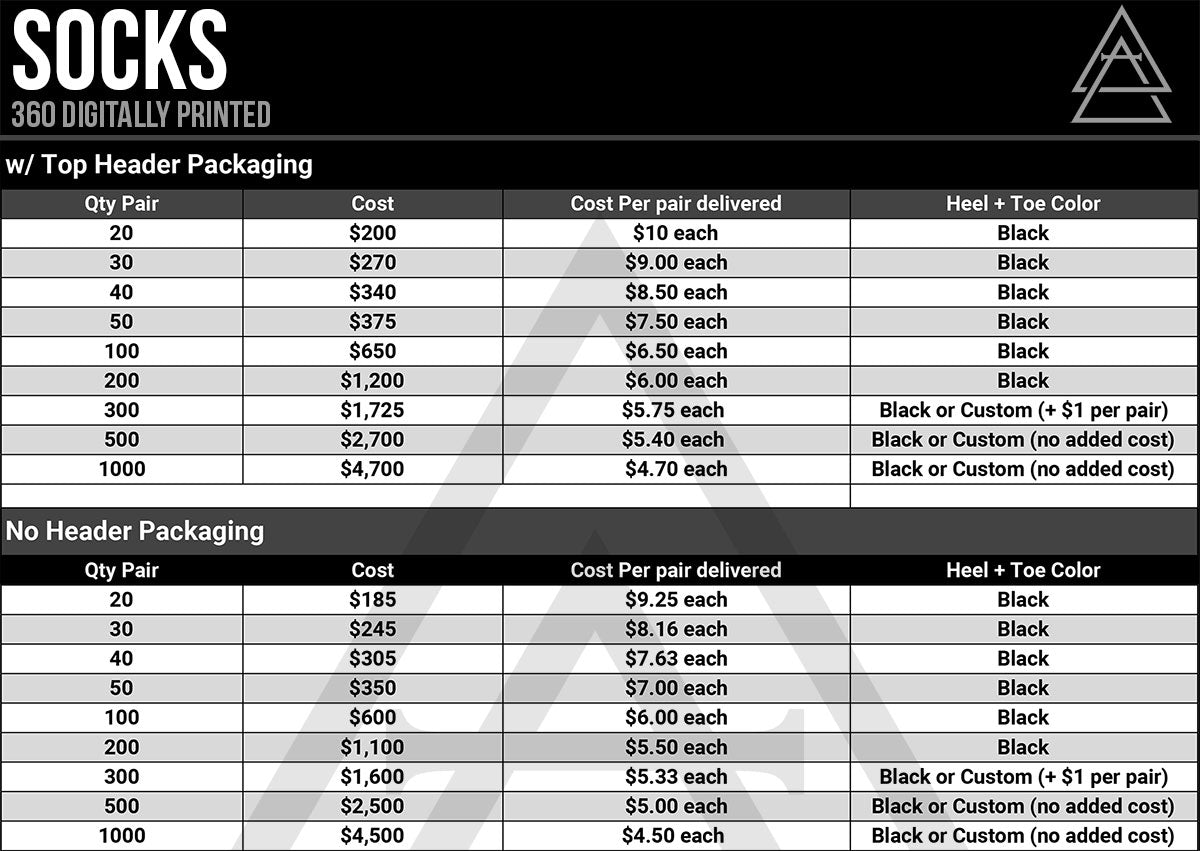 Custom Socks Pricing - Alchemy Merch