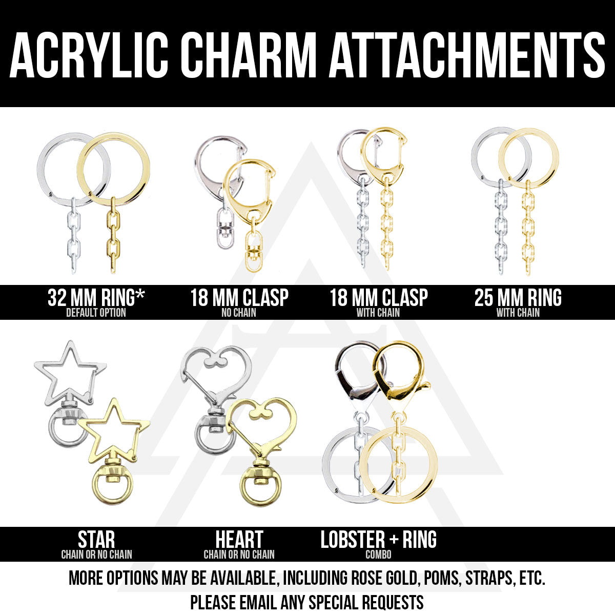 Alchemy Merch - Custom Acrylic Charms attachments