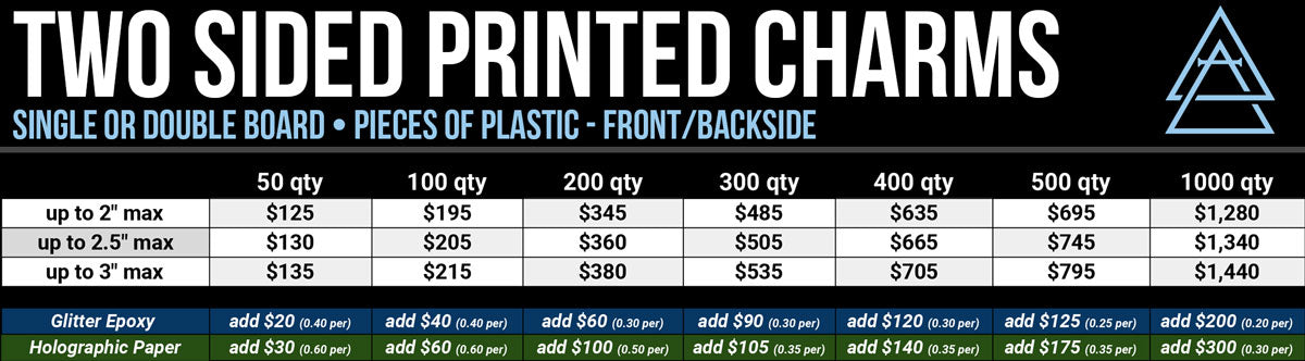 Double sided acrylic charms pricing - Alchemy Merch