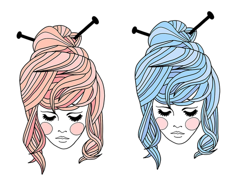 A drawing of a girl with knitting needles in her hair, in both a pink and blue variant
