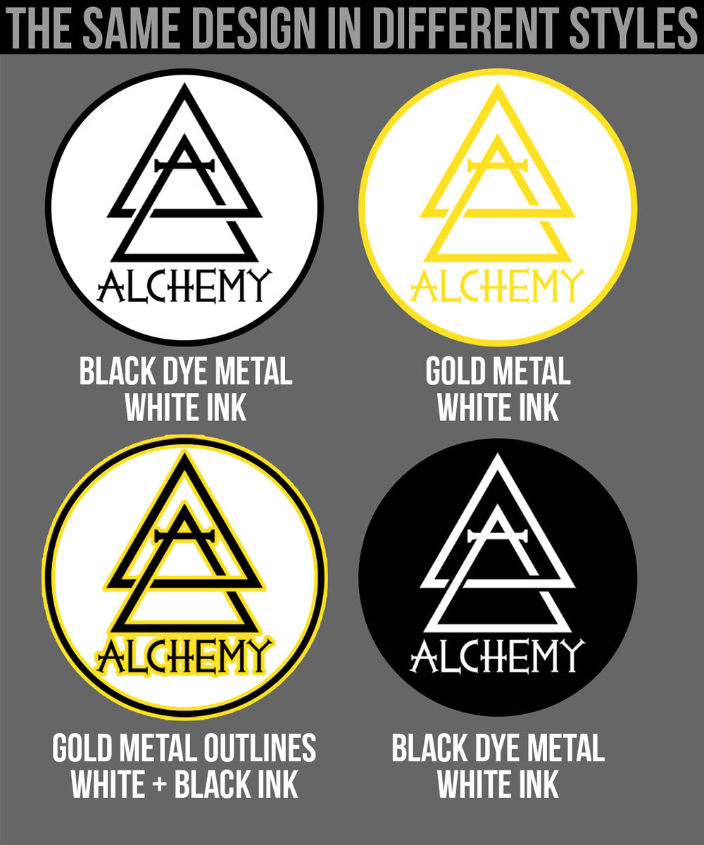 Alchemy Merch - Different Pin Styles for one design