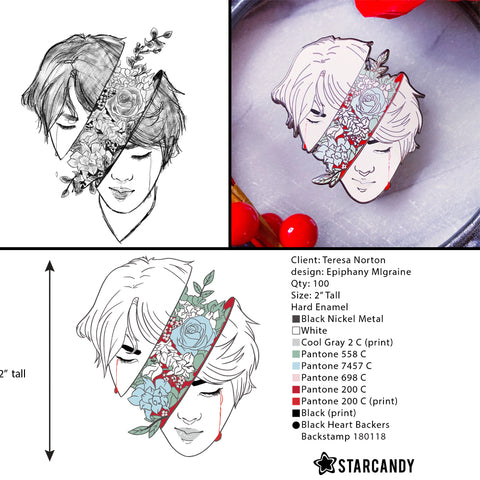 Several stages of a pin design- a sketch, a digital version, and the final pin. By Teresa Norton