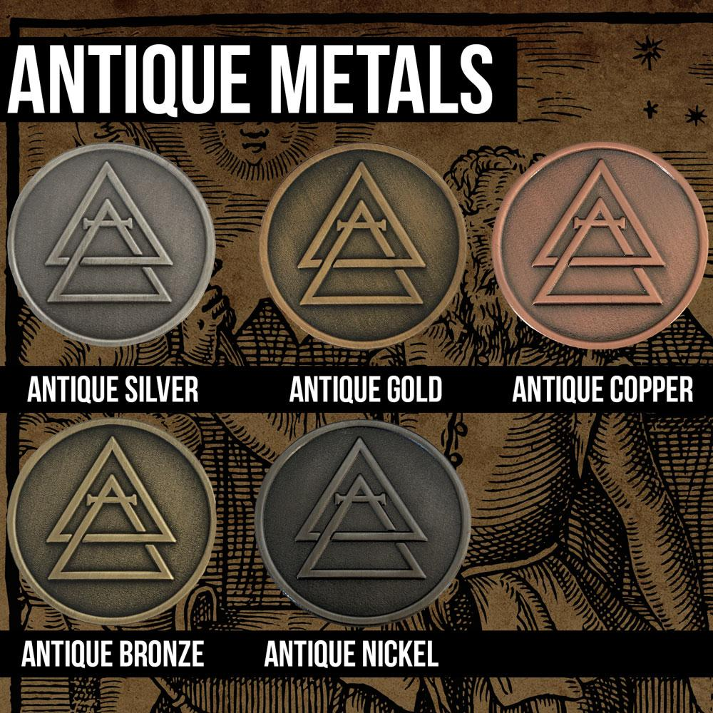 Antique Metals - Soft Enamel - Die Cast/ Complex Shapes - Alchemy Merch