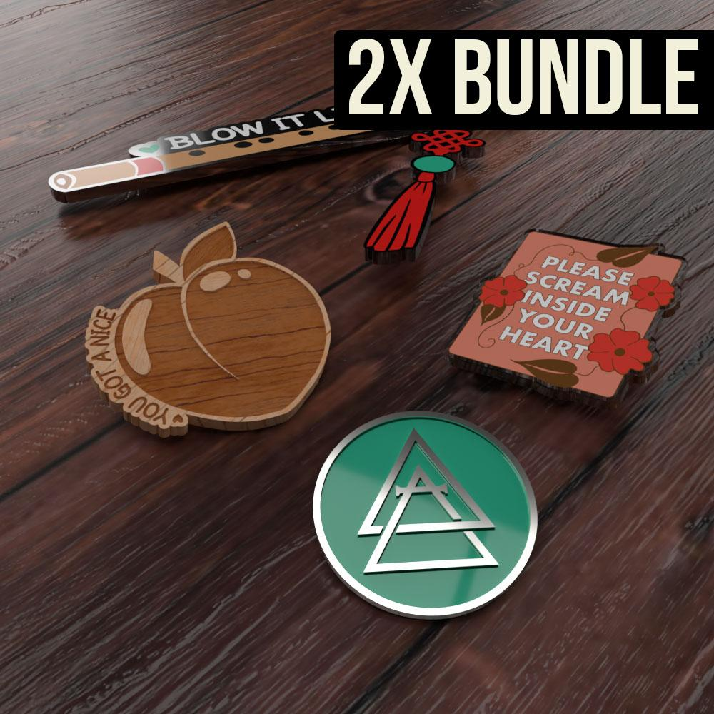Pin Game Strong 2X Combo Bundle - 200 hard enamel + 200 soft enamel + 200 acrylic pins + 100 wooden pins - Alchemy Merch