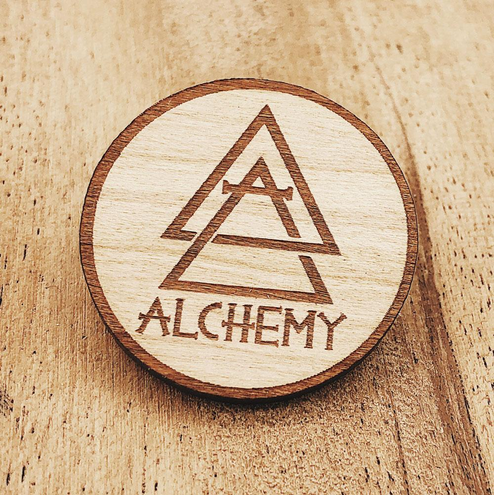 Wooden Pins & Keychains (made in the USA) - Alchemy Merch