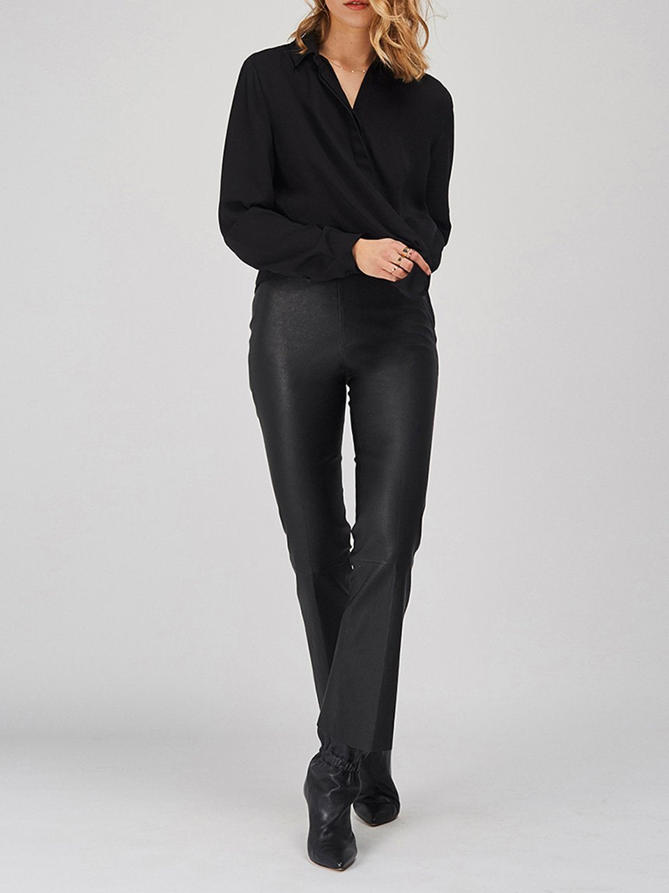 DANTE 6 TYSON CROP FLARE LEATHER PANTS
