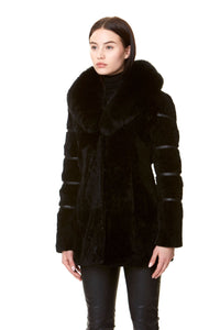 MONROE FUR COAT BLACK