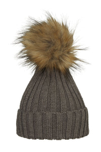 POM POM HAT CLASSIC FAUX FUR TAUPE/NATURE