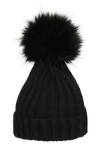 Load image into Gallery viewer, POM POM HAT CLASSIC FAUX FUR BLACK/BLACK
