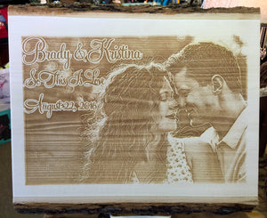 Couple's Photo Engraved into Wooden Plaque