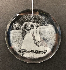 Wedding Photo Engraved Crystal Ornament