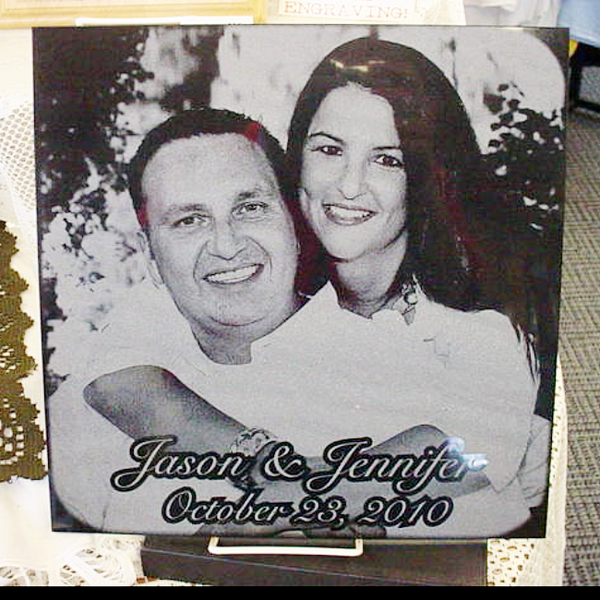Marble Wedding Photo Tile - Enchanted Memories, Custom Engraving & Unique Gifts