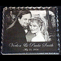 Wedding Photo Engraved Cracked Ice Plaque - Enchanted Memories, Custom Engraving & Unique Gifts