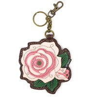 CHALA Pink Rose Key Fob, Coin Purse, Purse Charm - Enchanted Memories, Custom Engraving & Unique Gifts