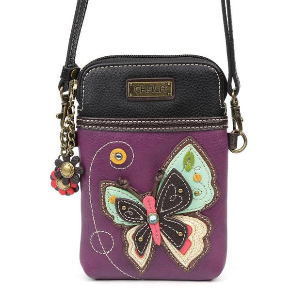 CHALA Crossbody Cell Phone Case - Purple Butterfly - Enchanted Memories, Custom Engraving & Unique Gifts
