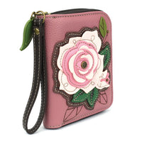 CHALA Pink Rose Wallet - Enchanted Memories, Custom Engraving & Unique Gifts
