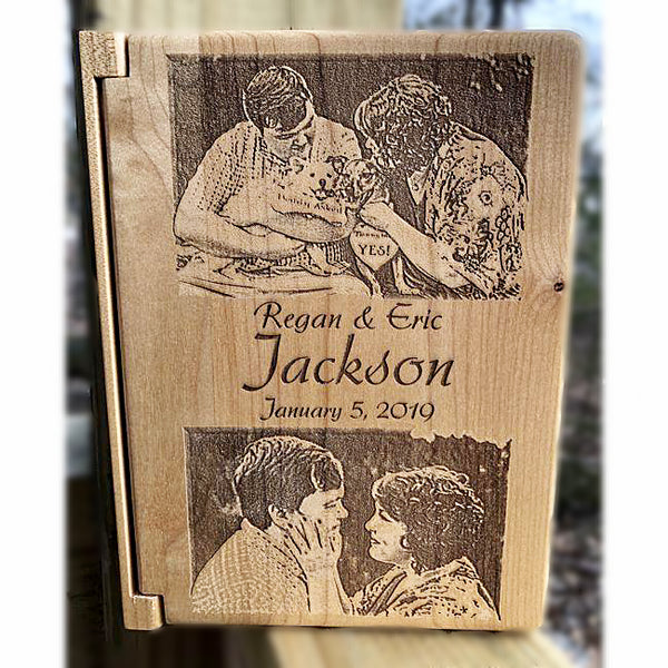 Engraved Wood Wedding Photo Album - Enchanted Memories, Custom Engraving & Unique Gifts
