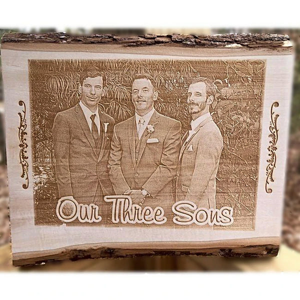Engraved Wooden Family Photo Plaques - Enchanted Memories, Custom Engraving & Unique Gifts
