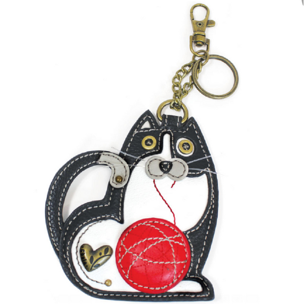 CHALA Tuxedo Cat Key Fob, Coin Purse, Purse Charm - Enchanted Memories, Custom Engraving & Unique Gifts