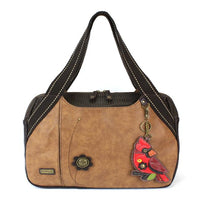 CHALA Bowling Bag Brown Cardinal Handbag Red Bird Purse
