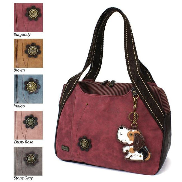 CHALA Bowling Bag Burgundy Dog Purse Beagle Handbag