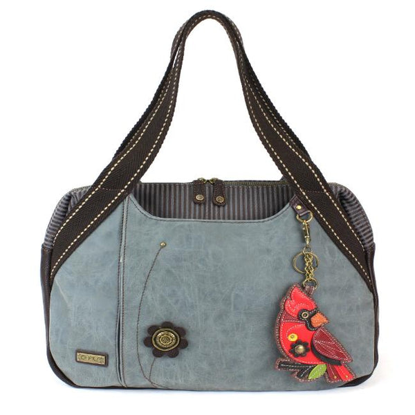 CHALA Bowling Bag Cardinal Handbag Indigo Blue Red Bird Purse
