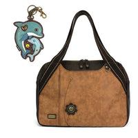 CHALA Bowling Bag Dolphin Brown Handbag Purse Sea Life