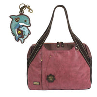 CHALA Bowling Bag Dolphin Burgundy Handbag Purse Sea Life