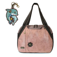 CHALA Bowling Bag Dolphin Dusty Rose Handbag Purse Sea Life