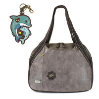 CHALA Bowling Bag Dolphin Stone Gray Handbag Purse Sea Life