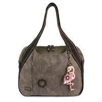 CHALA Bowling Bag Flamingo Stone Gray Animal Themed Handbag Purse