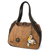 Chala Bowling Bag Handbag Purse Brown with Pelican Purse Charm