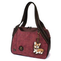 CHALA Bowling Bag Handbag Burgundy Corgi Dog Purse Animal Themed