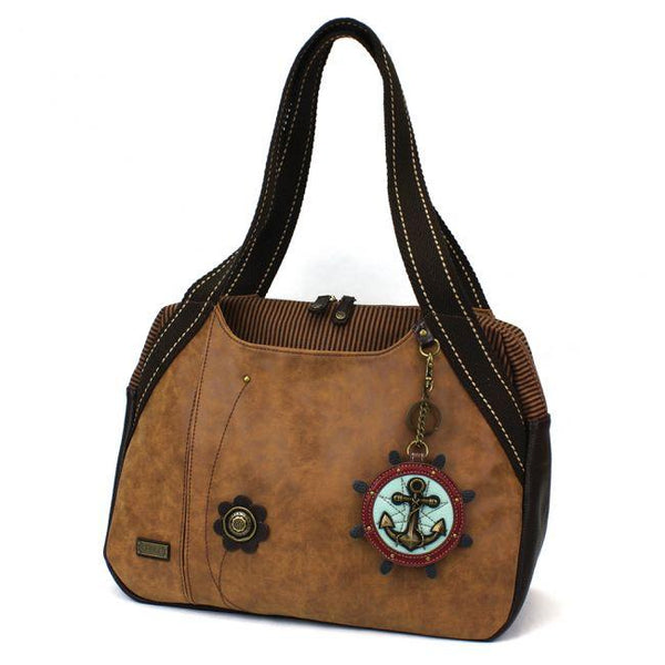Chala Bowling Bag Handbag Purse Brown with Anchor