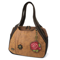 CHALA Bowling Bag Handbag Purse Brown with Red Rose