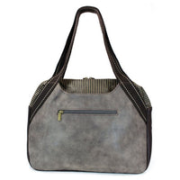 CHALA Bowling Bag Handbag Purse Indigo Blue Back Side