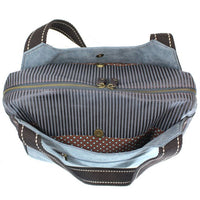 CHALA Bowling Bag Handbag Purse Inside Top Indigo Blue