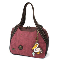 CHALA Bowling Bag Handbag Purse Burgundy with Pelican