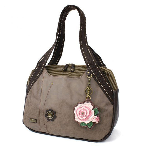 CHALA Bowling Bag Handbag Purse Stone Gray with Pink Rose