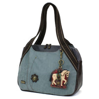 CHALA Bowling Bag Horse Indigo Blue Animal Themed Handbag Purse