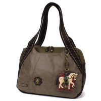 CHALA Bowling Bag Horse Stone Gray Handbag Purse Animal Themed